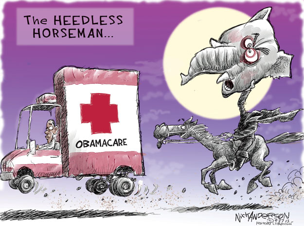 Cartoonist Nick Anderson  Nick Anderson's Editorial Cartoons 2013-09-27 health care policy
