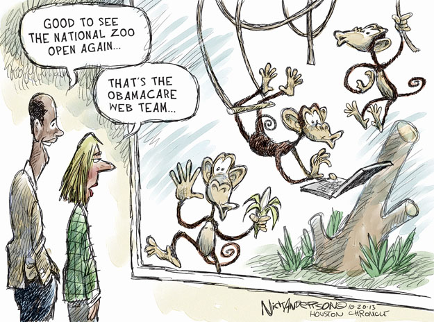 Cartoonist Nick Anderson  Nick Anderson's Editorial Cartoons 2013-10-19 health care policy