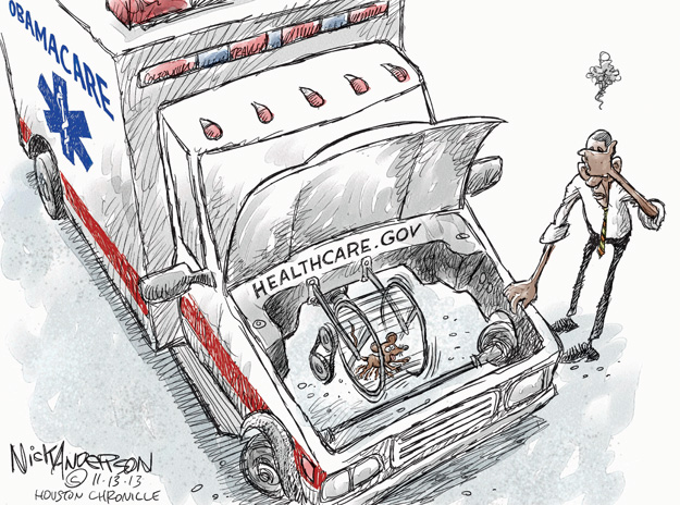 Cartoonist Nick Anderson  Nick Anderson's Editorial Cartoons 2013-11-13 health care policy