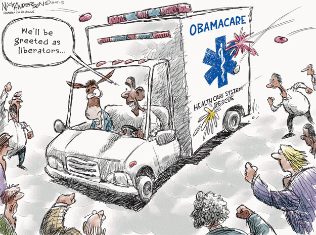 Cartoonist Nick Anderson  Nick Anderson's Editorial Cartoons 2013-11-15 health care policy