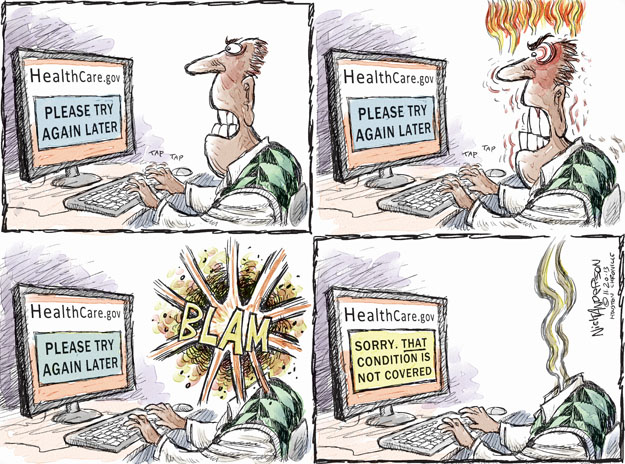 Cartoonist Nick Anderson  Nick Anderson's Editorial Cartoons 2013-11-20 health care policy