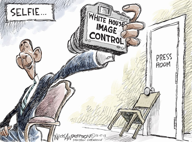 Cartoonist Nick Anderson  Nick Anderson's Editorial Cartoons 2013-12-14 Barack Obama selfie