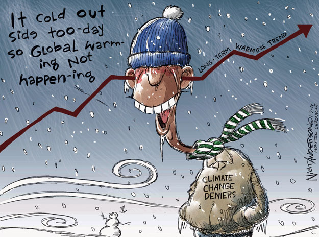 It cold out side too-day so global warming not happen-ing. Climate change deniers. Long-term warming trend.