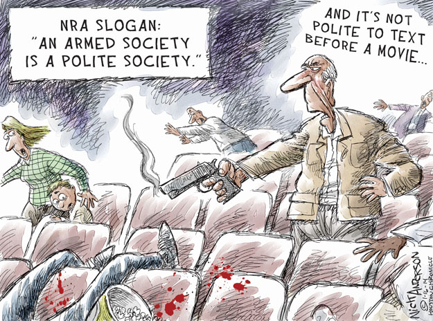 "NRA slogan: ""An armed society is a polite society."" And its not polite to text before a movie …"