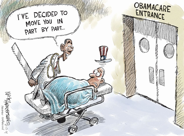Cartoonist Nick Anderson  Nick Anderson's Editorial Cartoons 2014-02-13 health care policy