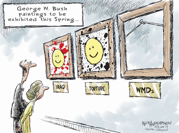 George W. Bush paintings to be exhibited this Spring … Iraq. Torture. WMDs.