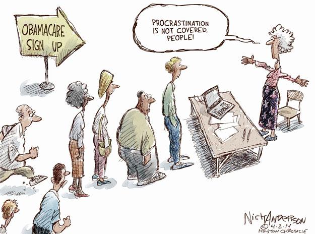 Cartoonist Nick Anderson  Nick Anderson's Editorial Cartoons 2014-04-02 health care policy