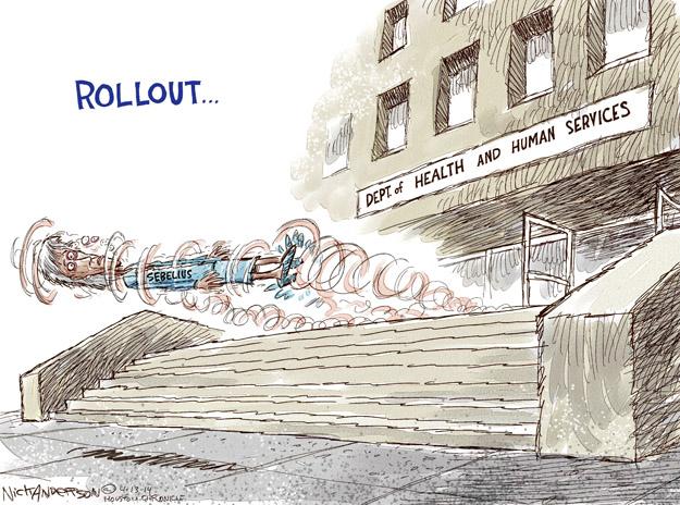 Cartoonist Nick Anderson  Nick Anderson's Editorial Cartoons 2014-04-13 health care policy