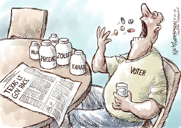 Texas Lt. Gov. Race. Voter. Valium. Prozac. Zoloft. Xanax. Paxil.