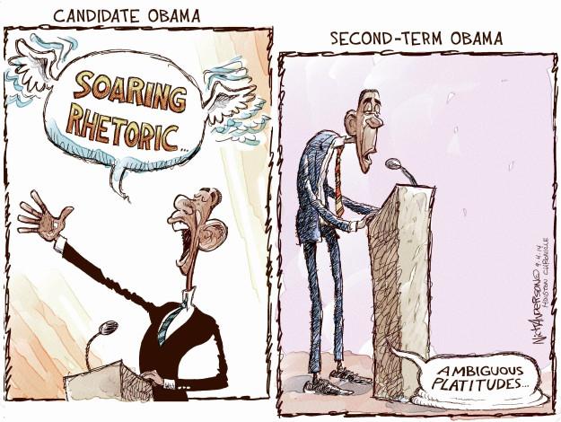 Candidate Obama. Soaring rhetoric … Second-Term Obama. Ambiguous platitudes …
