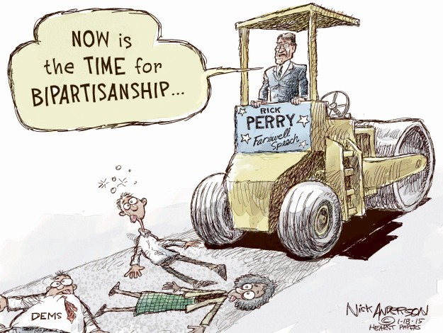 Now is the time for bipartisanship … Rick Perry Farewell Speech. Dems.