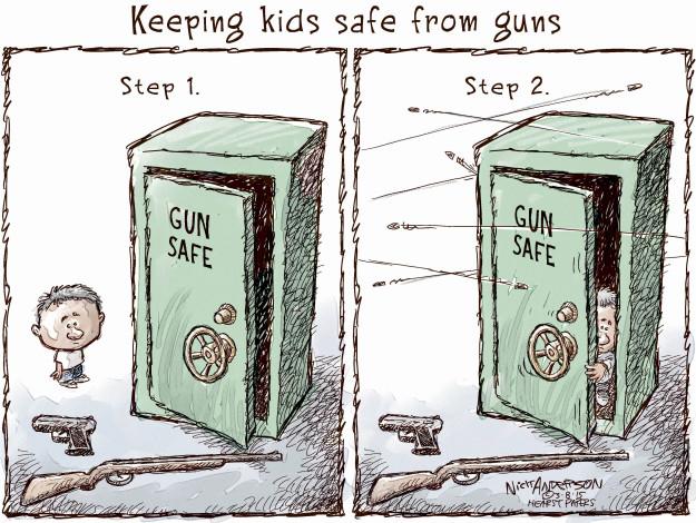 Keeping kids safe from guns. Step 1. Gun safe. Step 2. Gun safe.