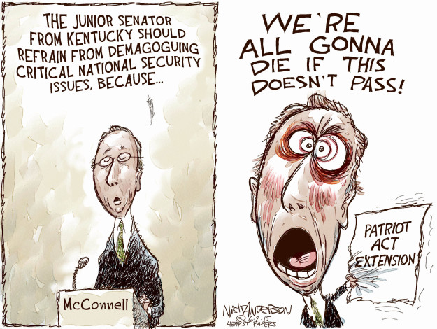 The junior senator from Kentucky should refrain from demagoguing critical national security issues, because … Were all gonna die if this doesnt pass! McConnell. Patriot Act Extension.