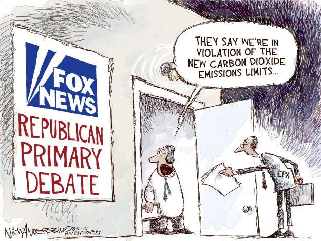 Cartoonist Nick Anderson  Nick Anderson's Editorial Cartoons 2015-08-05 political debate