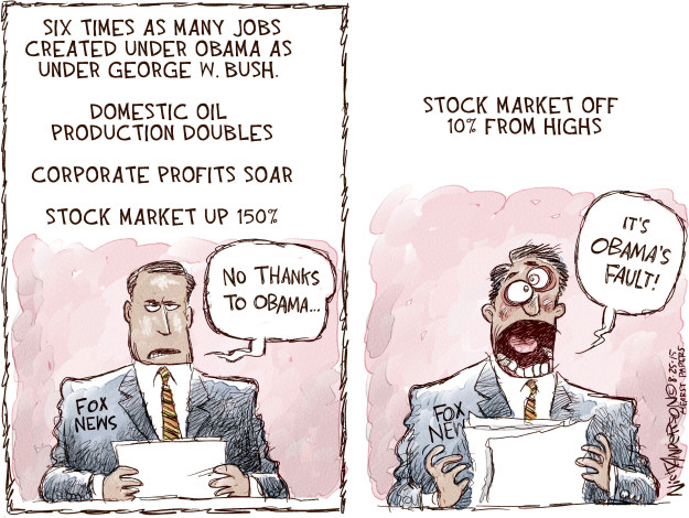 Cartoonist Nick Anderson  Nick Anderson's Editorial Cartoons 2015-08-25 Obamacare jobs
