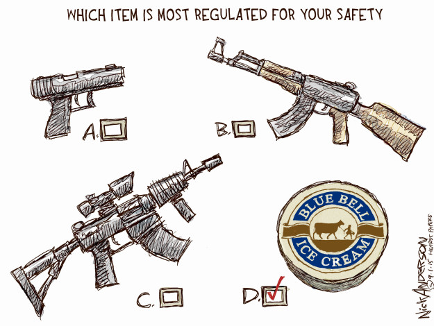 Cartoonist Nick Anderson  Nick Anderson's Editorial Cartoons 2015-09-01 semi-automatic weapon