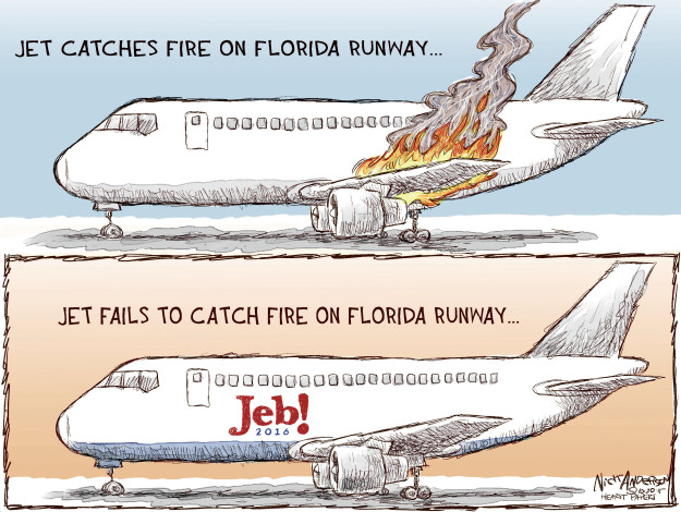 Jet catches fire on Florida runway … Jet fails to catch fire on Florida runway … Jeb! 2016.