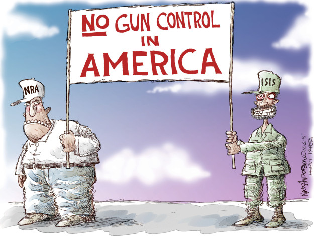 Cartoonist Nick Anderson  Nick Anderson's Editorial Cartoons 2015-12-06 gun control