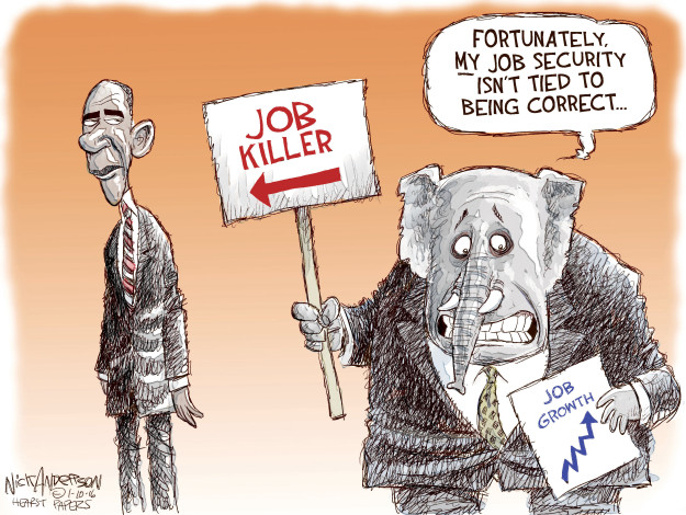 Cartoonist Nick Anderson  Nick Anderson's Editorial Cartoons 2016-01-10 Obamacare jobs