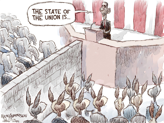 Cartoonist Nick Anderson  Nick Anderson's Editorial Cartoons 2016-01-13 Barack Obama