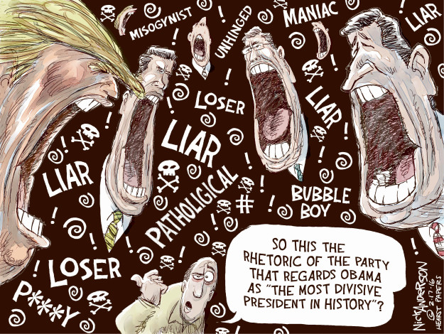 Cartoonist Nick Anderson  Nick Anderson's Editorial Cartoons 2016-02-17 rhetoric