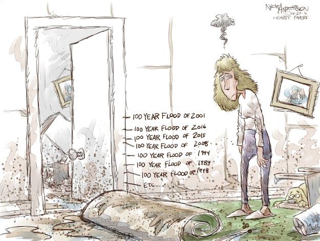 Cartoonist Nick Anderson  Nick Anderson's Editorial Cartoons 2016-04-20 natural disaster