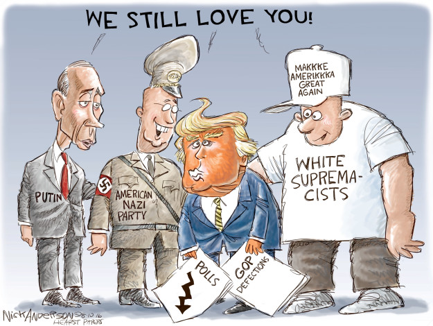 Cartoonist Nick Anderson  Nick Anderson's Editorial Cartoons 2016-08-10 white nationalism