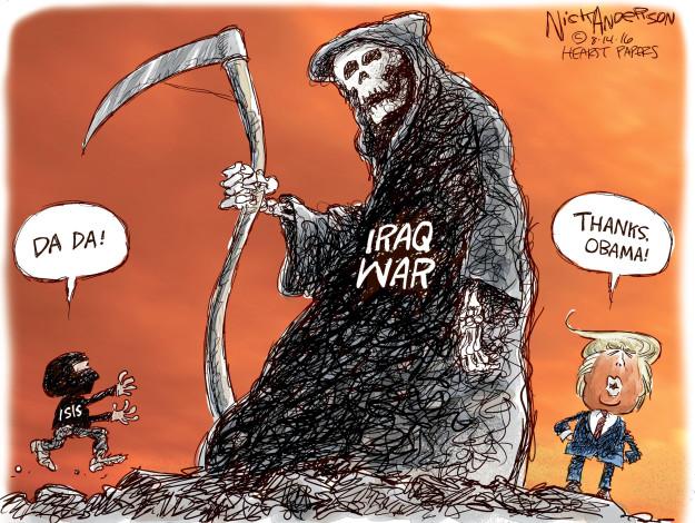 Cartoonist Nick Anderson  Nick Anderson's Editorial Cartoons 2016-08-14 Obama credibility