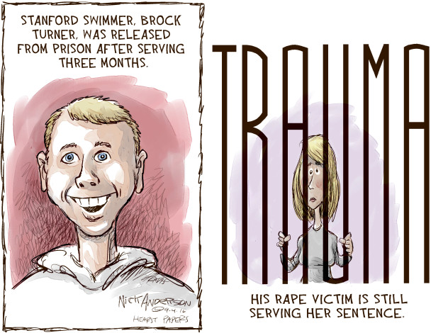 Stanford swimmer, Brock Turner, was released from prison after serving three months. Trauma. His rape victim is still serving her sentence.