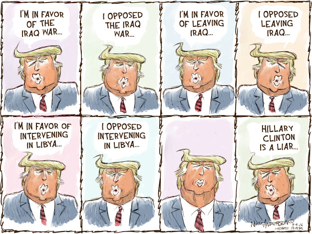 Cartoonist Nick Anderson  Nick Anderson's Editorial Cartoons 2016-09-09 flip-flop
