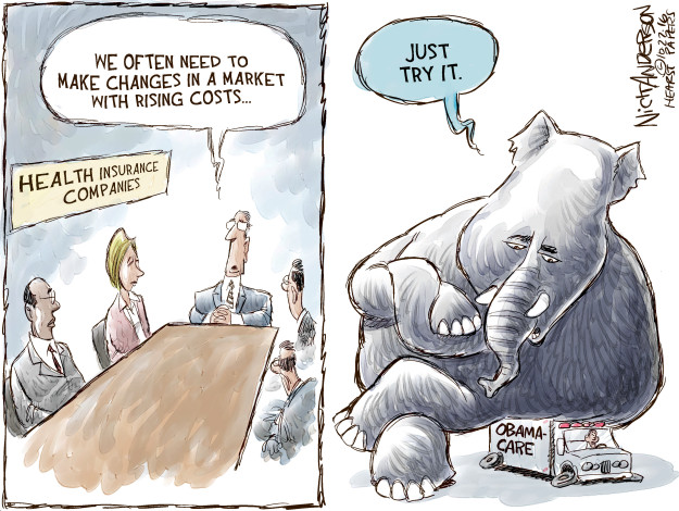 Cartoonist Nick Anderson  Nick Anderson's Editorial Cartoons 2016-10-27 affordable care act