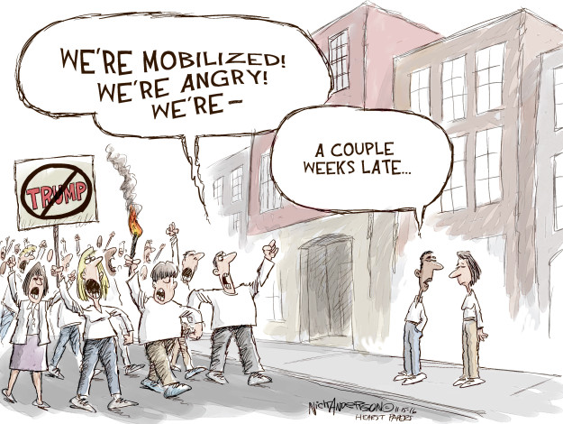 Cartoonist Nick Anderson  Nick Anderson's Editorial Cartoons 2016-11-15 protester