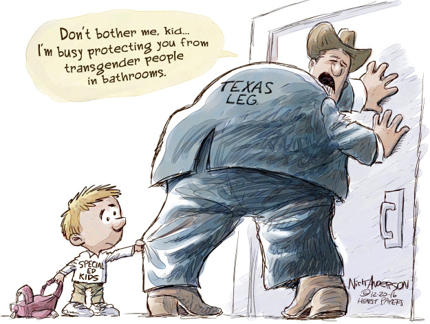 Dont bother me, kid … Im busy protecting you from transgender people in bathrooms. Texas leg. Special ed kids.