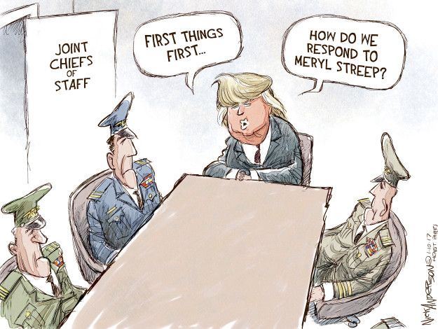 Joint Chiefs of Staff. First things first … How do we respond to Meryl Streep?