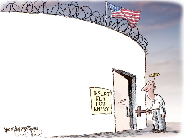 Cartoonist Nick Anderson  Nick Anderson's Editorial Cartoons 2017-01-31 immigration