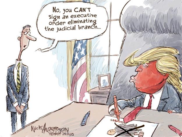 No, you cant sign an executive order eliminating the judicial branch …