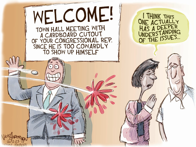 Welcome! Town Hall Meeting with a cardboard cutout of your Congressional Rep. since he is too cowardly to show up himself. I think this one actually has a deeper understanding of the issues …