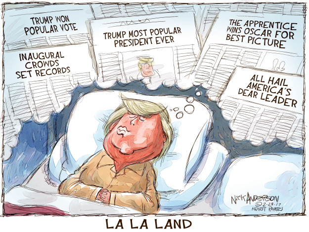Trump won popular vote. Inaugural crowds set records. Trump most popular president ever. The Apprentice wins Oscar for best picture. All hail Americas dear leader. La La Land.