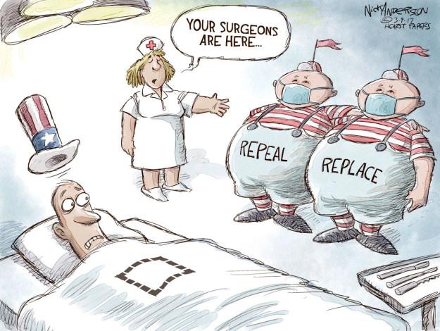 Cartoonist Nick Anderson  Nick Anderson's Editorial Cartoons 2017-03-09 health care policy