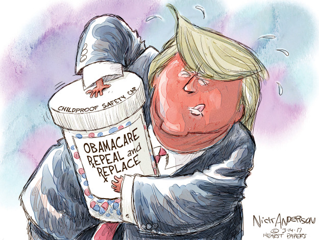 Cartoonist Nick Anderson  Nick Anderson's Editorial Cartoons 2017-03-14 affordable care act