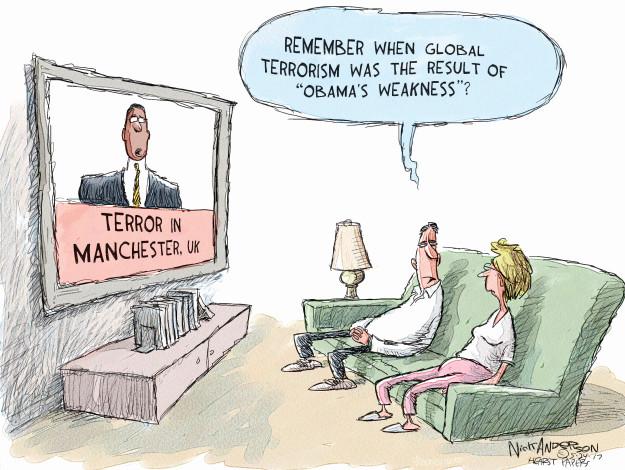 Cartoonist Nick Anderson  Nick Anderson's Editorial Cartoons 2017-05-24 Obama terrorism