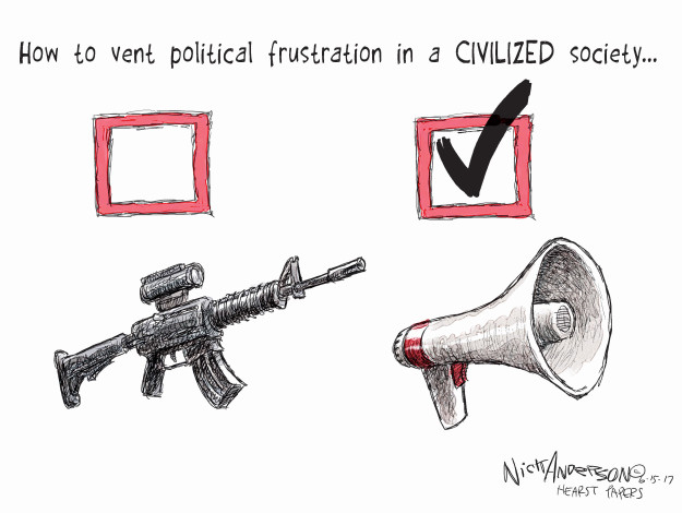 Cartoonist Nick Anderson  Nick Anderson's Editorial Cartoons 2017-06-15 gun violence