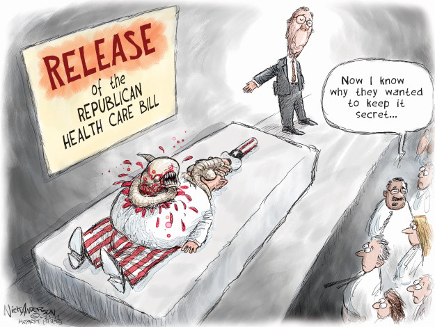 Cartoonist Nick Anderson  Nick Anderson's Editorial Cartoons 2017-06-23 Trumpcare