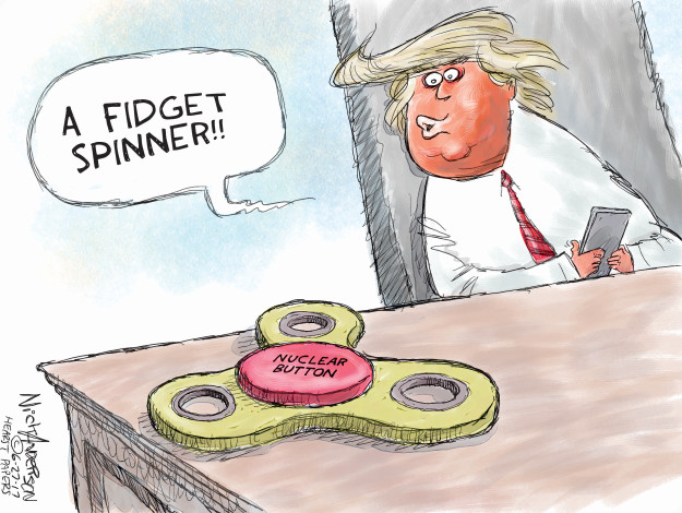 A fidget spinner. Nuclear button.