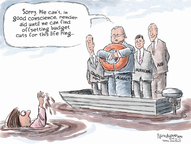 Cartoonist Nick Anderson  Nick Anderson's Editorial Cartoons 2017-09-14 hurricane
