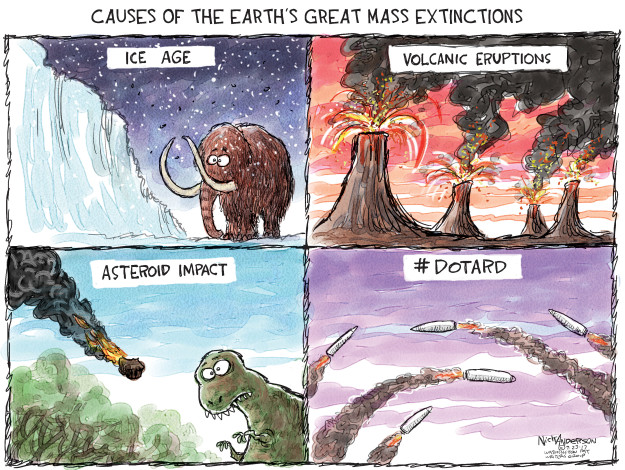 Causes of the earths great mass extinctions. Ice age. Volcanic eruptions. Asteroid impact. #dotard.