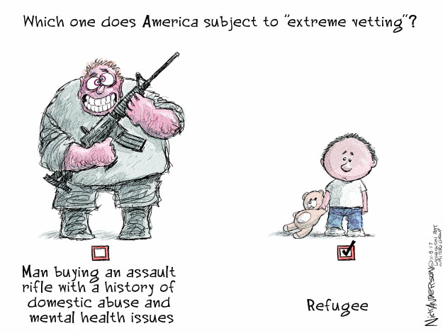 Cartoonist Nick Anderson  Nick Anderson's Editorial Cartoons 2017-11-08 immigration