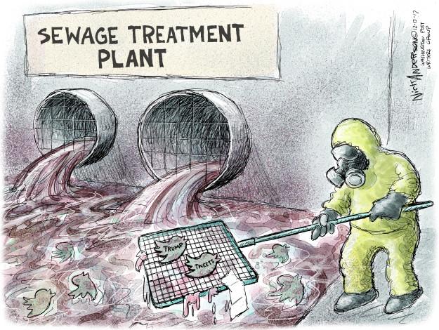 Sewage Treatment Plant. Trump tweets.