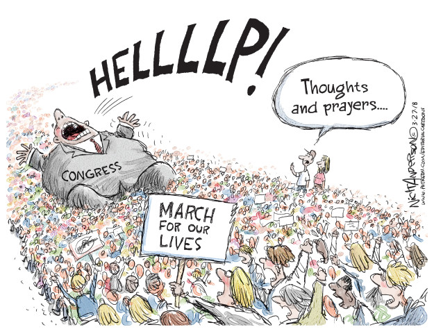 Cartoonist Nick Anderson  Nick Anderson's Editorial Cartoons 2018-03-27 protester