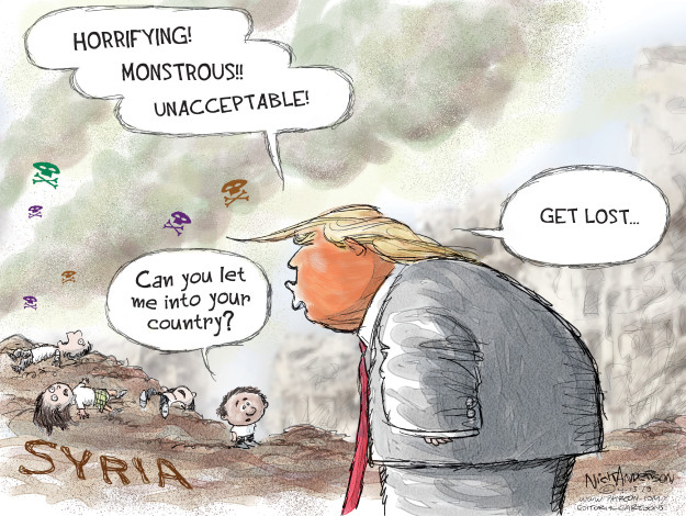 Horrifying! Monstrous!! Unacceptable! Can you let me into your country? Get lost … Syria.